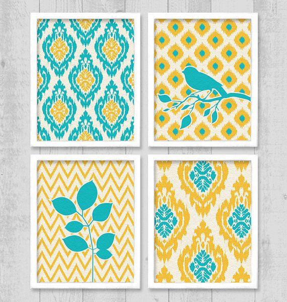 Ikat Bird Chevron Digital Printable Wall Art Print 8\