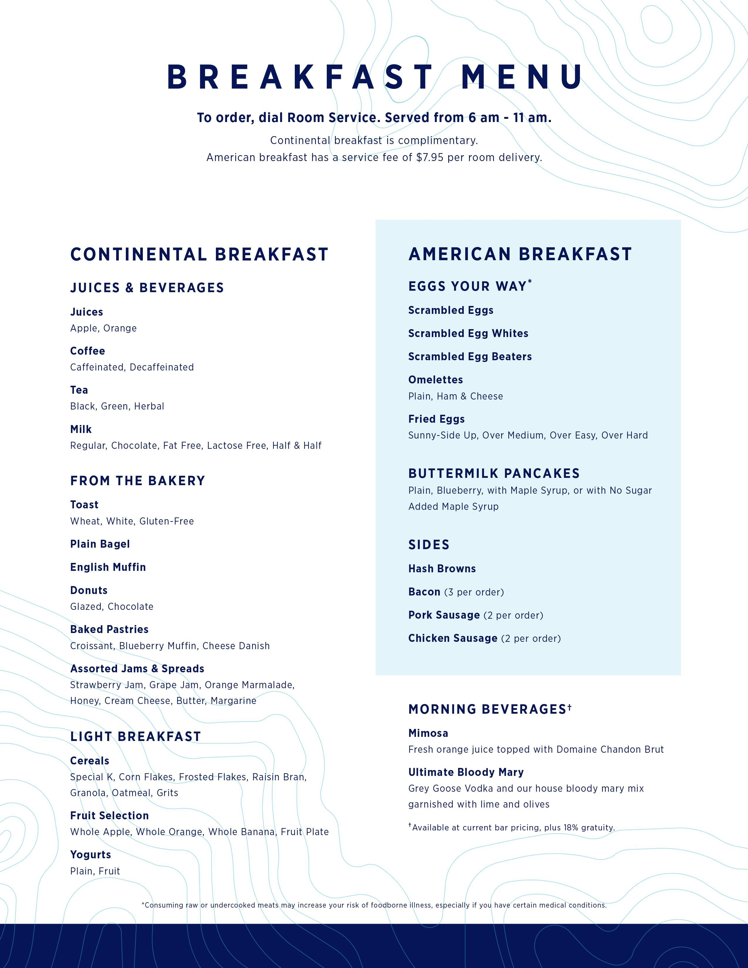 Room Service Menu Breakfast Breakfast Menu Wedding Food