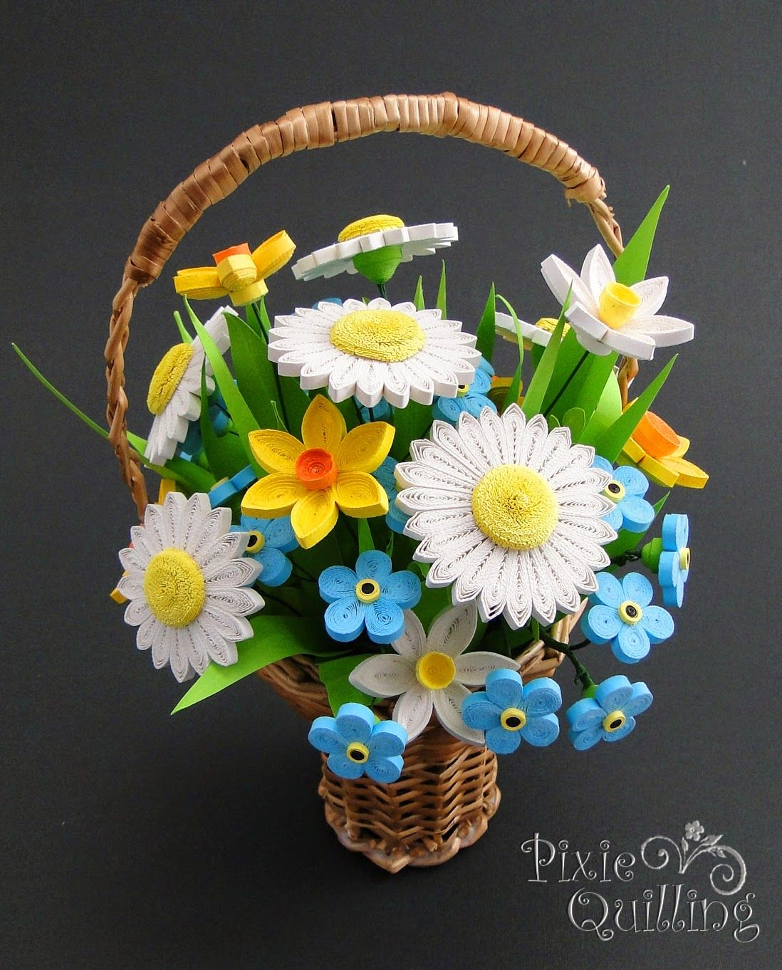 Papírvilág: basket with quilled flowers / quilling virágos kosár ... for Paper Quilling Flower Basket 3d  157uhy