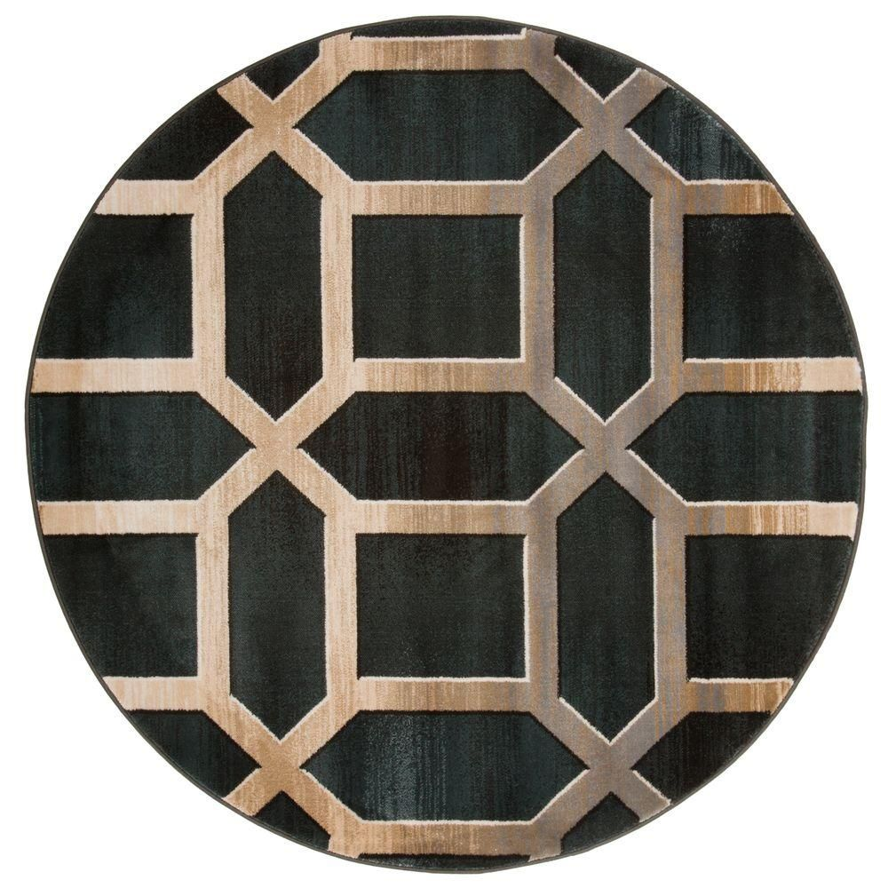 Lavish Home Opus Art Deco Teal 5 Ft. X 5 Ft. Round Area Rug 62 30 DG 5RD    The Home Depot