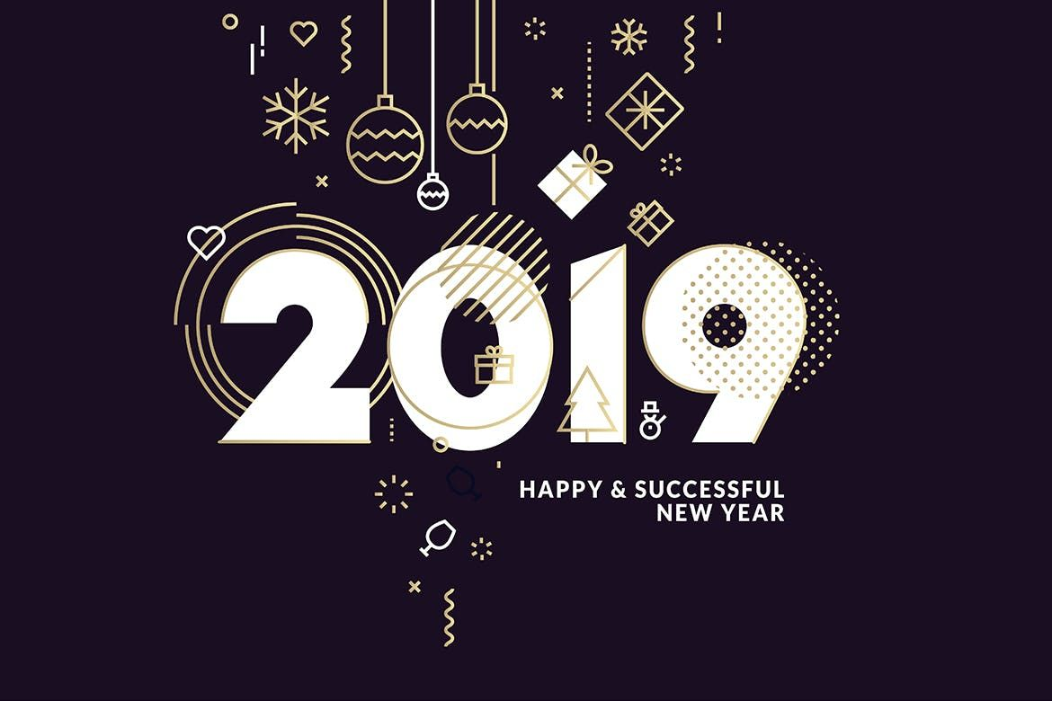 Business Happy New Year 2019 Greeting Card Template Eps Vector