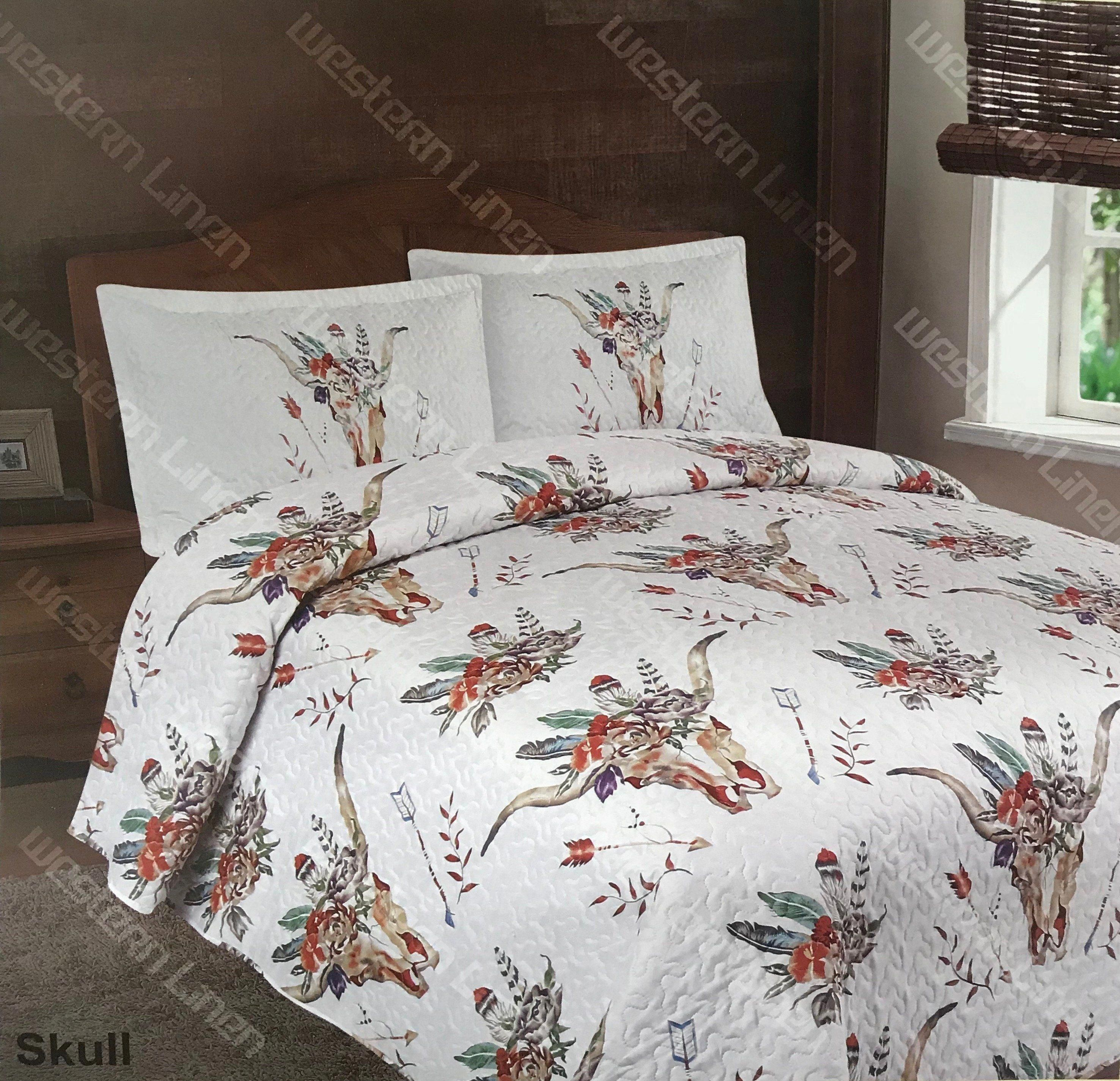 3Pc Skull Skeleton Flower Quilt Rustic Western Bedspread Comforter Bedding Set