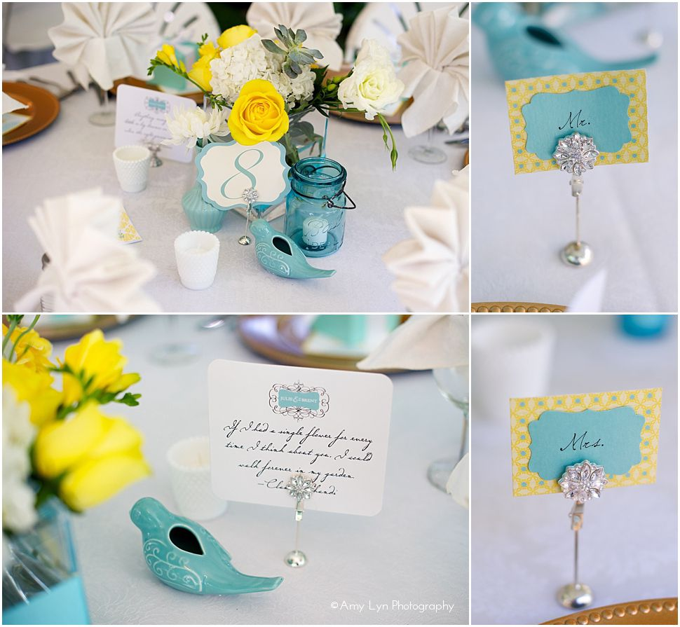 Wedding decorations yellow and gray  Tiffany blue u yellow wedding centerpieces  Yellow Wedding Seating
