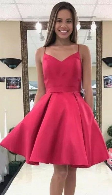 f6c779e1451 Simple Red Homecoming Dresses Spaghettis Straps Bowknot Back Short Formal  Dresses