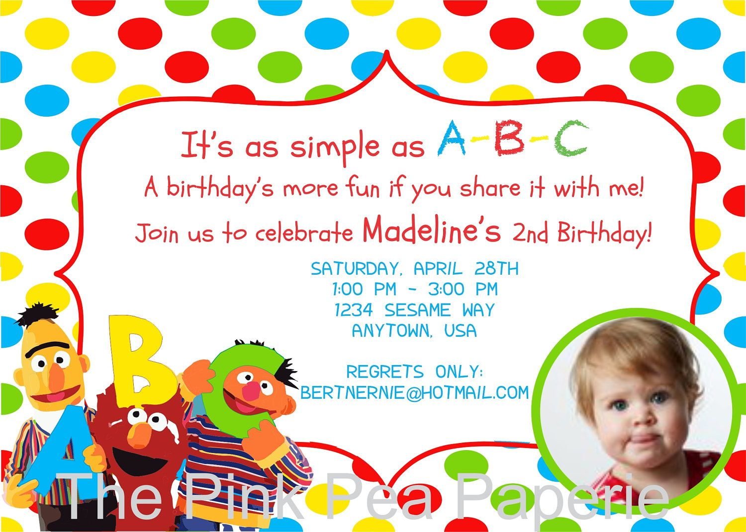 Custom Printable Polka Dot ABC Elmo Sesame Street Birthday Party ...