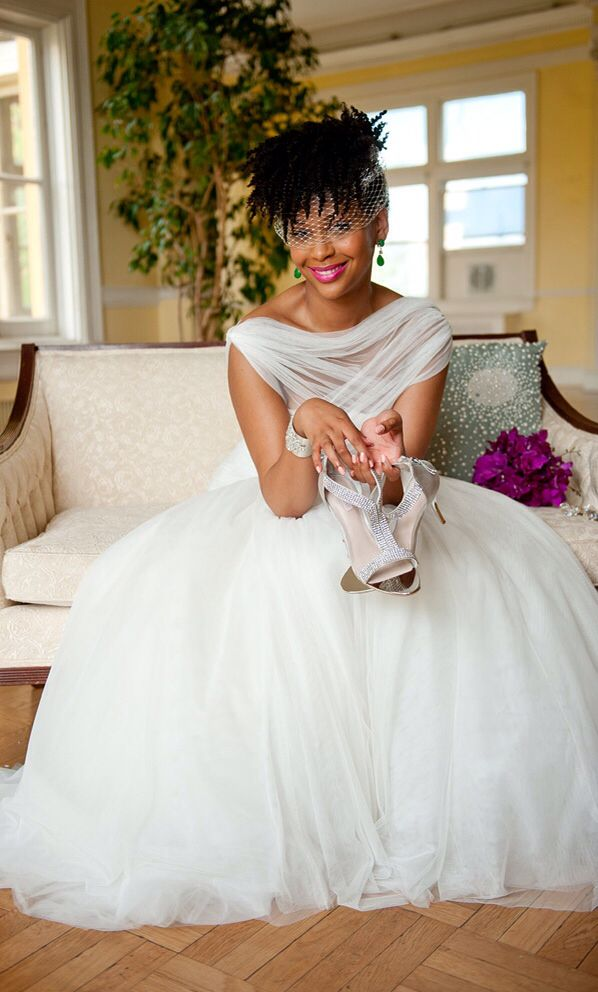 This Beautiful Ball Gown Wedding Dress Is Accentuated With A Tulle