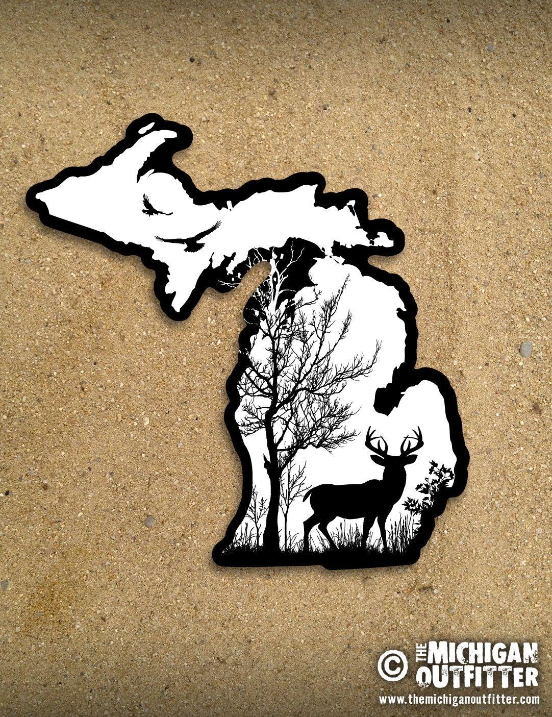 4 Michigan Sticker Deer In The Woods Michigan Sticker Michigan Art Michigan Tattoos [ jpg ]