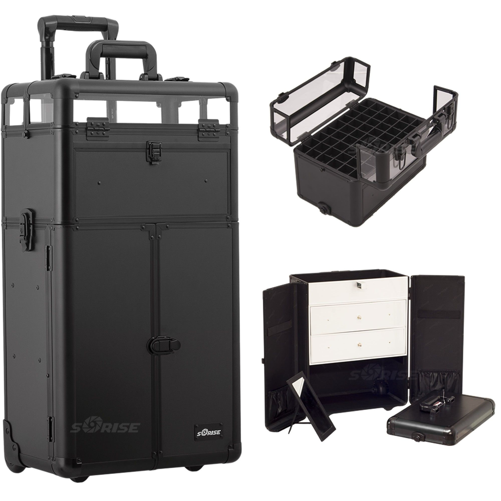 Black Smooth Nail & Makeup Trolley w/ Drawers