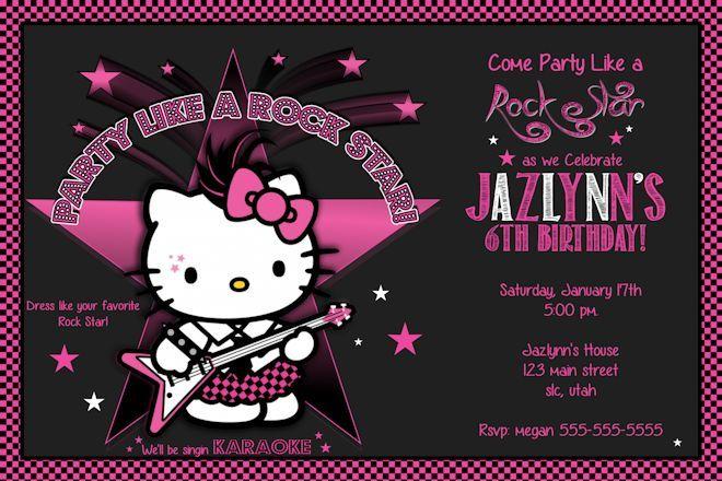 Hello Kitty Birthday Party Invitations Photo Rockstar Printable – Hello Kitty Birthday Party Invitations Printable