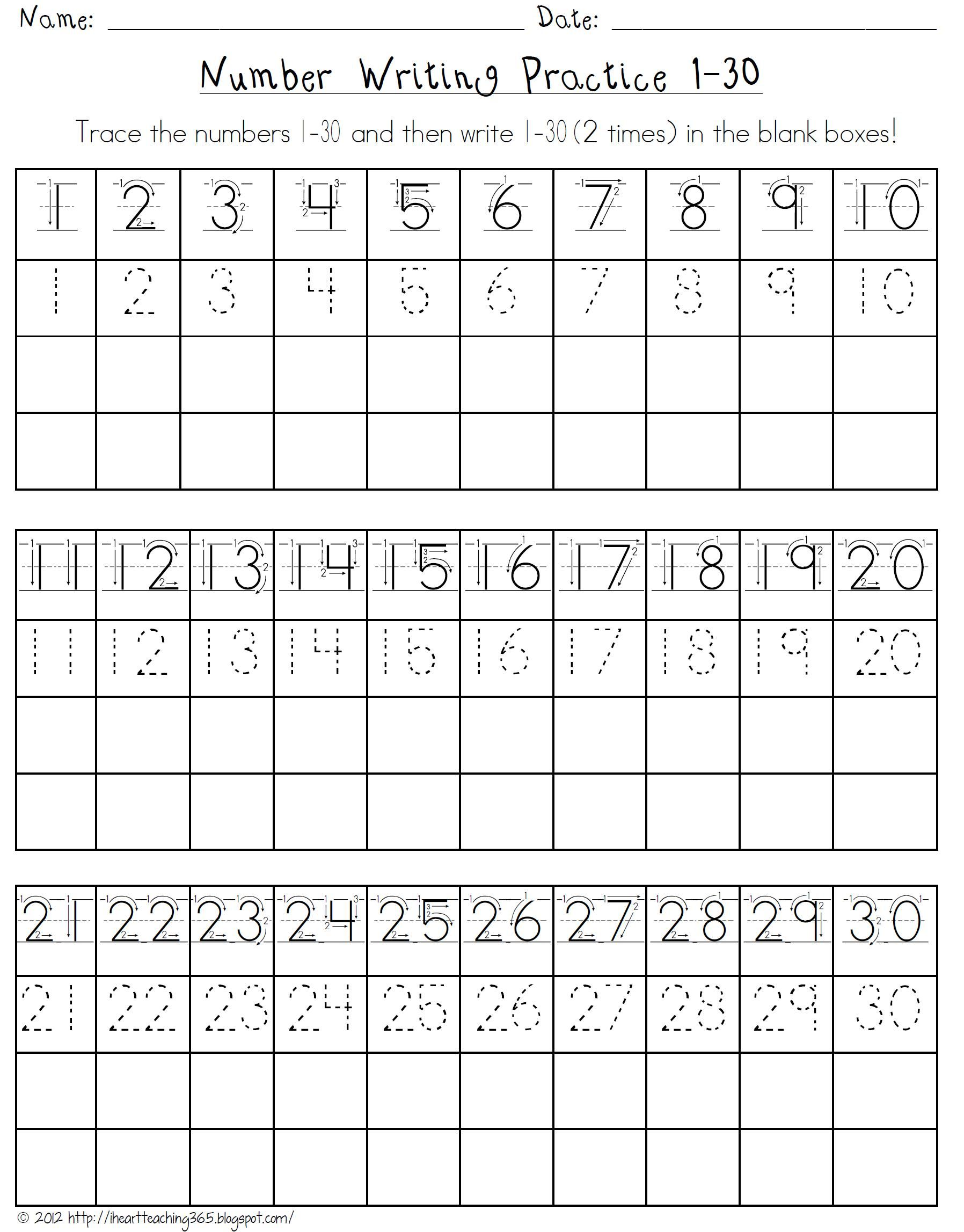 Number Writing Practice 1 30
