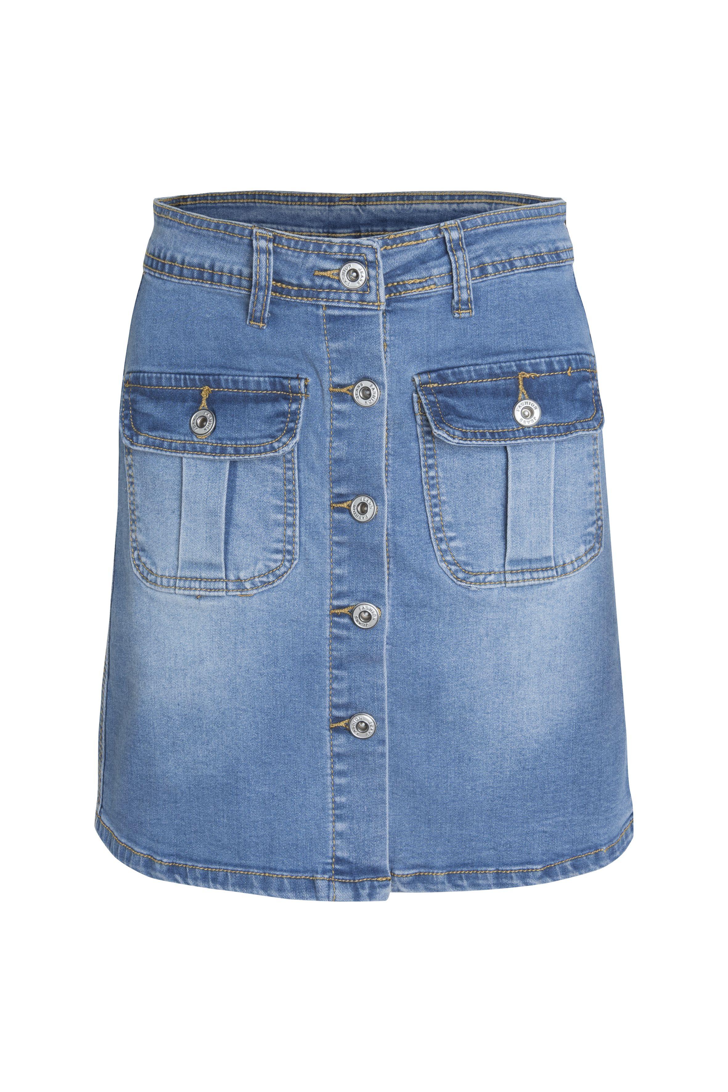 Falda denim juvenil. Corte evasé. Bolsillos delanteros. #girl #denim #skirt #fashion #style