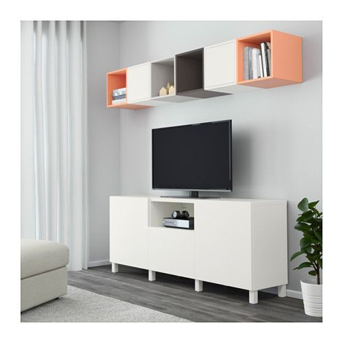 Best eket tv storage combination white dark grey light for Ikea meuble mural besta