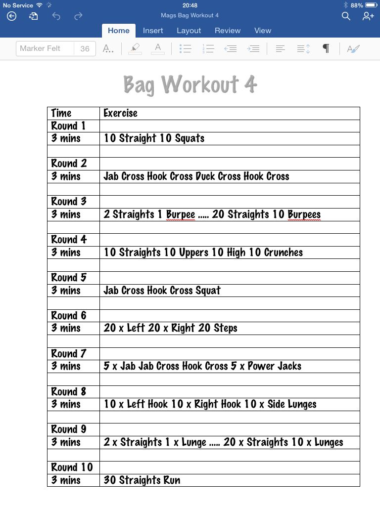 Tomorrows workout :) More