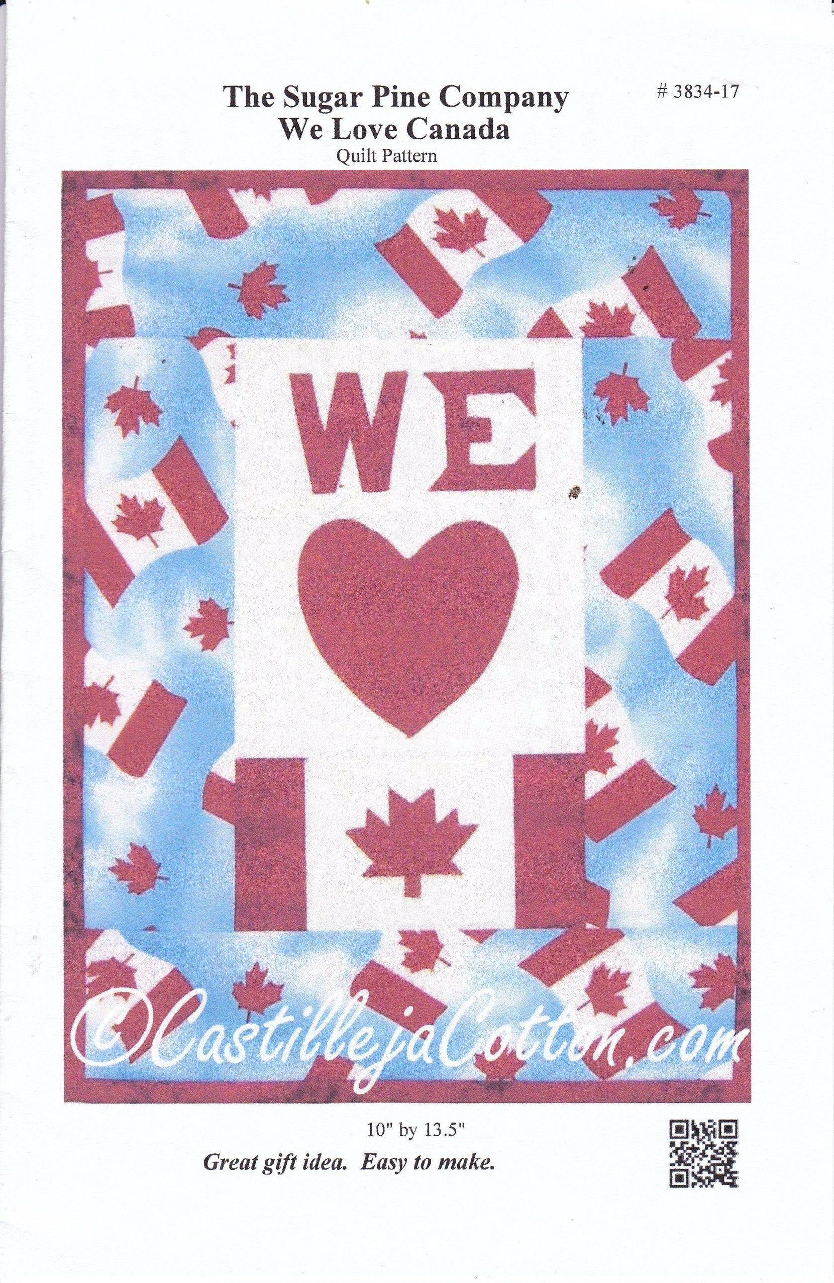 We Love Canada Quilt Pattern The Sugar Pine Company 10 X 13 5