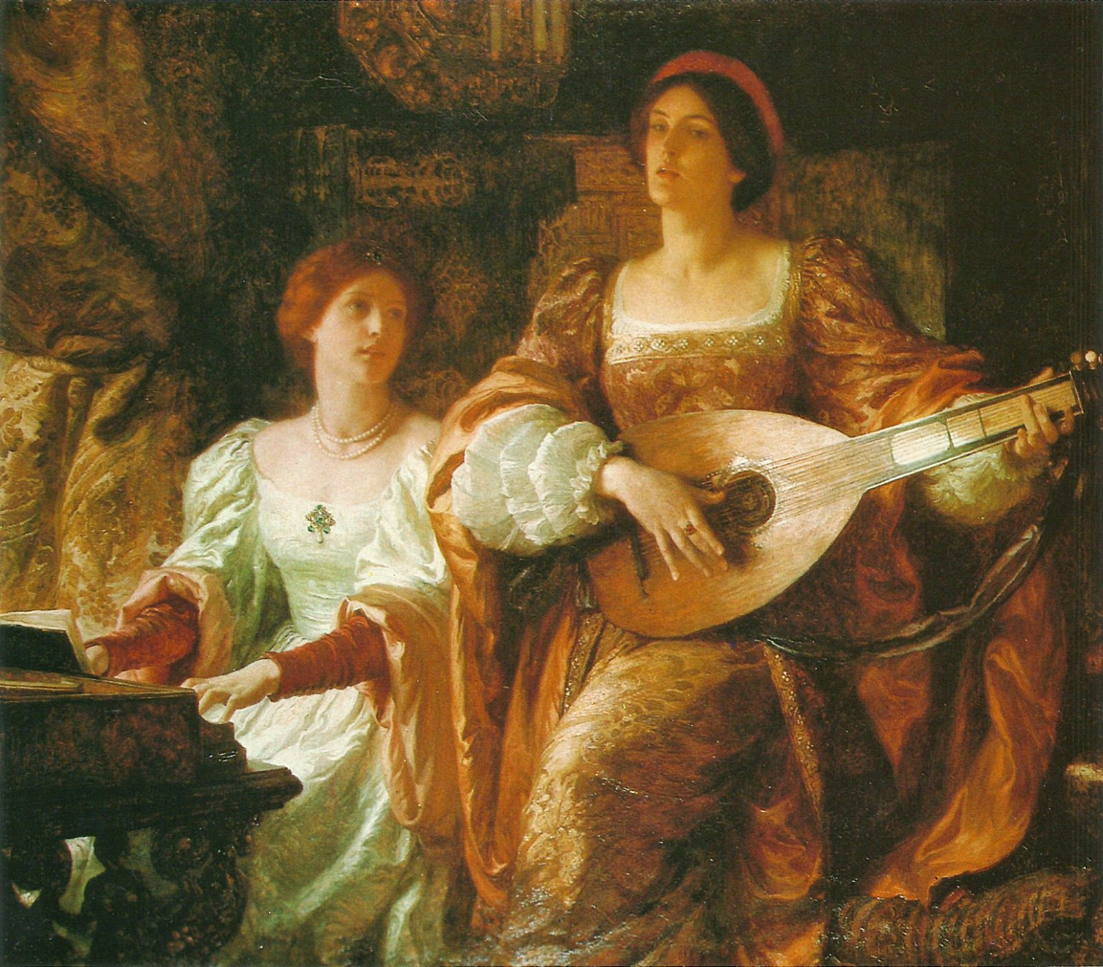 Sir Frank Dicksee (1853 1928)  The Duet 1885 #19Th #Classic