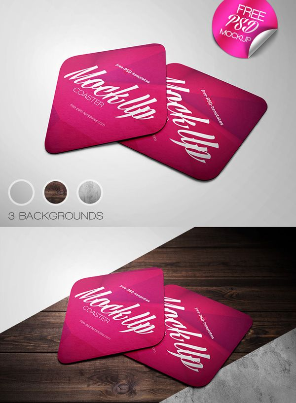 Free Coaster Mock-up in PSD