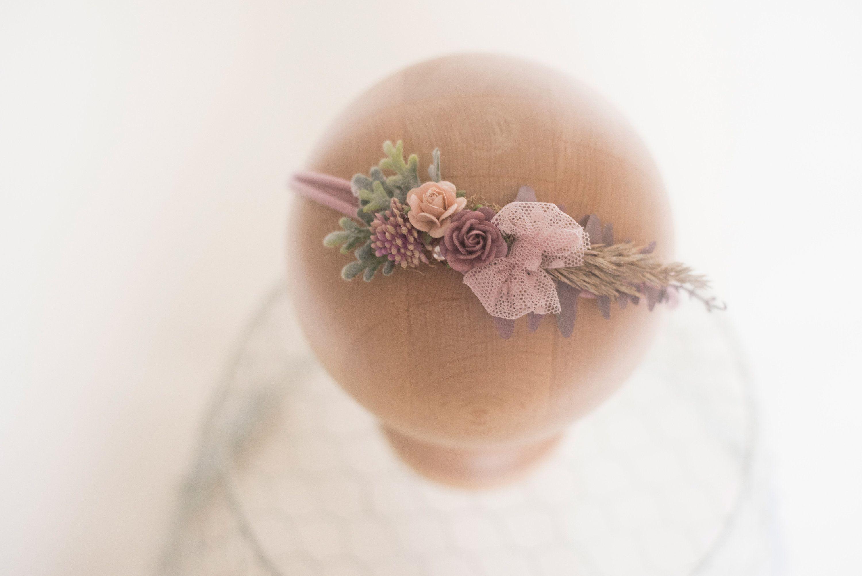 Mauve Jersey Tieback Pink Floral Tieback Headband Blush Jersey Newborn Photo Prop RTS Tieback Spring Headband Jersey Tieback