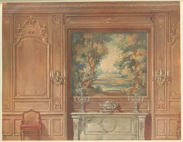 Salle-a-manger-Louis-XIV-Vue-geometrale--painting-in-a - the