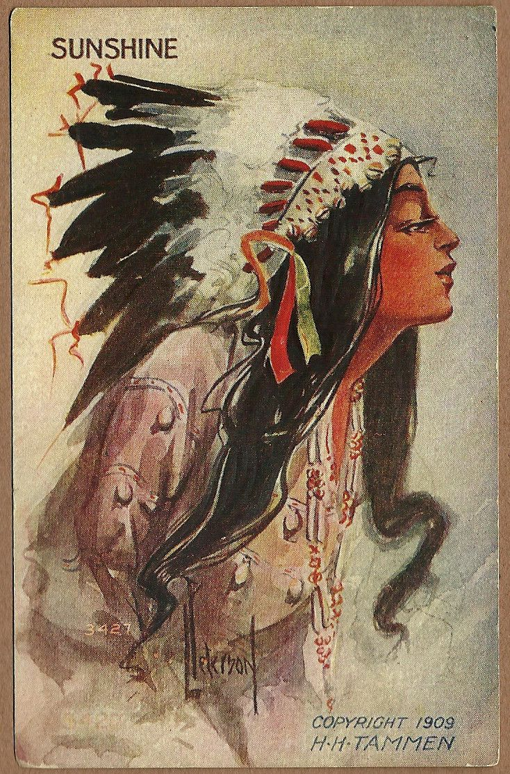 1900 indian maiden postcards artist signed embossed for Embossed tattoo designs