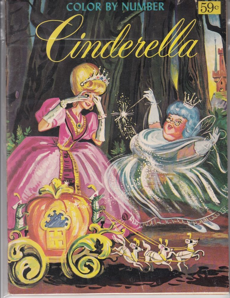 Vintage Cinderella Color By Number Book Unused With Story