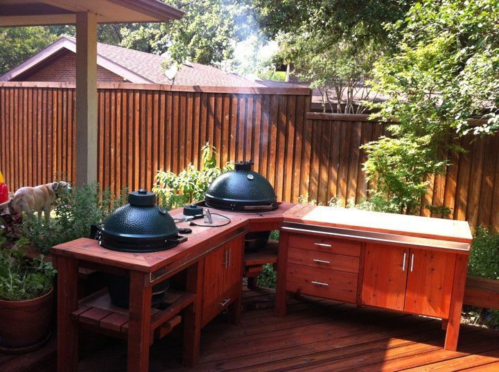 Small Corner Outdoor Kitchen With Big Green Egg   Google Search