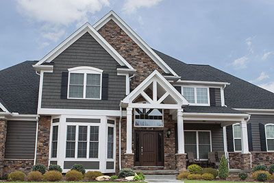 Exterior Fake Rock Siding Ohio Home With Thin Cut Faux Stone