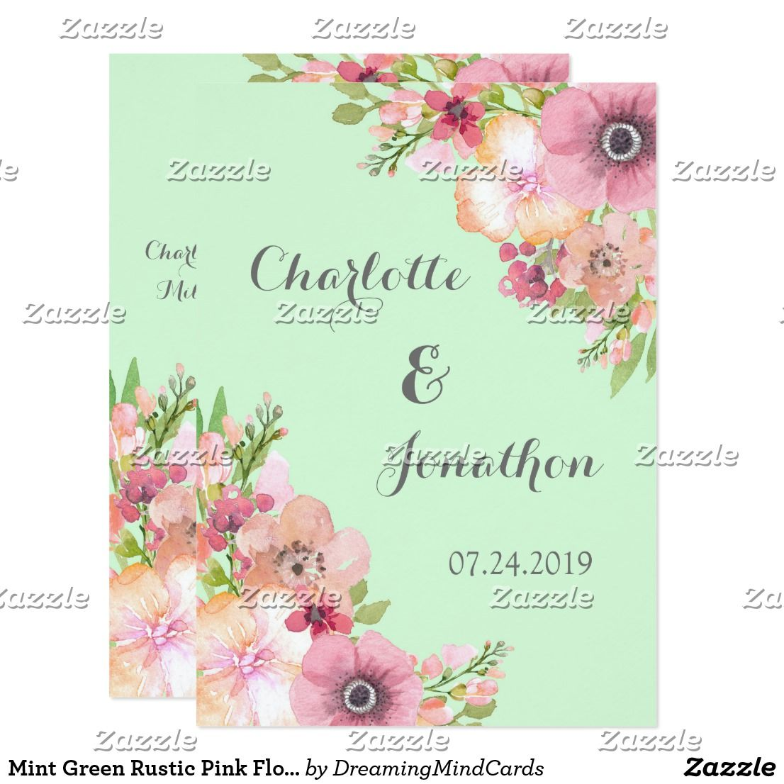 Mint Green Rustic Pink Flowers Wedding Invitations | Wedding and ...