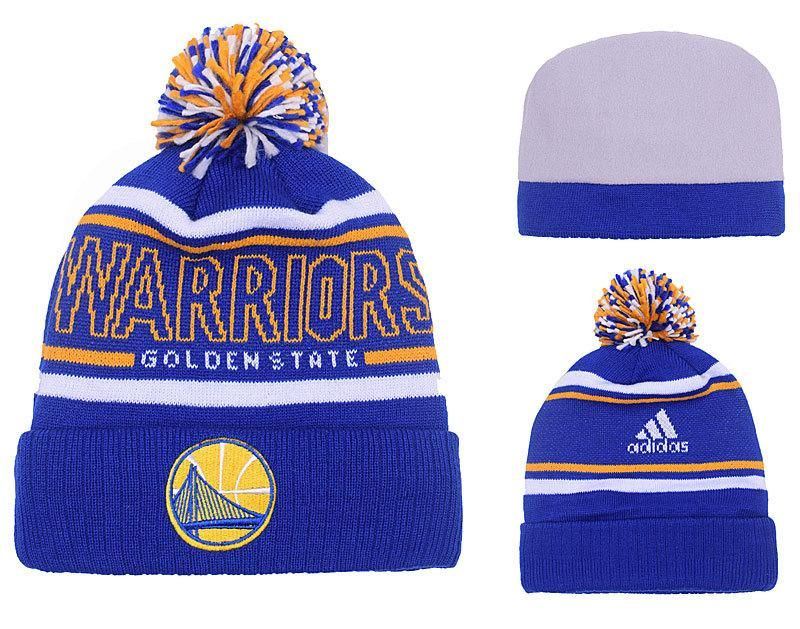 free shipping fe0c8 9ee4d Men s   Women s Golden State Warriors Adidas Energy Stripe Jacquard Logo Cuff  Pom Pom Beanie Hat - Blue