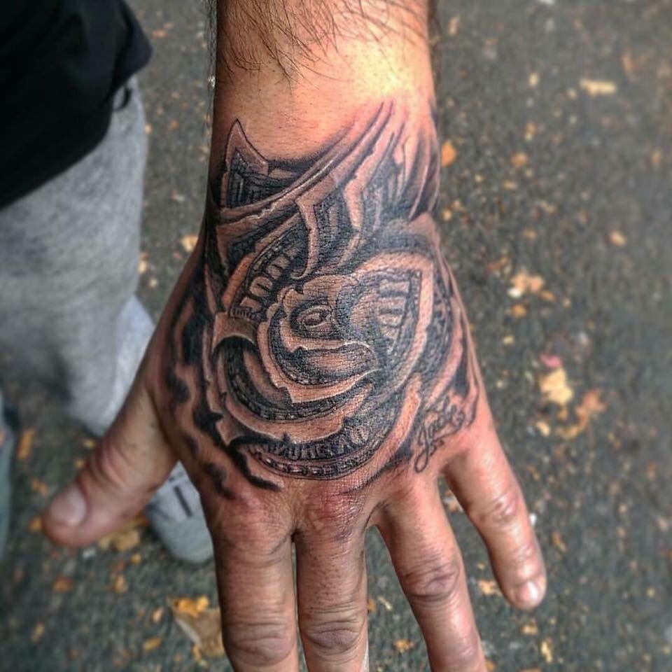 9a9559cd1 Dollar Rose Hand Tattoo | Awesome | Rose hand tattoo, Hand tattoos ...