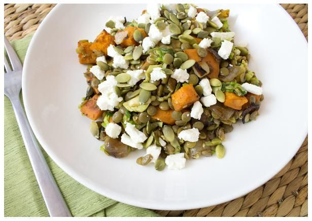 Warm+French+Lentil+Salad+with+Honey+Roasted+Sweet Potatoes+-+Read+More+at+SpryLiving.com