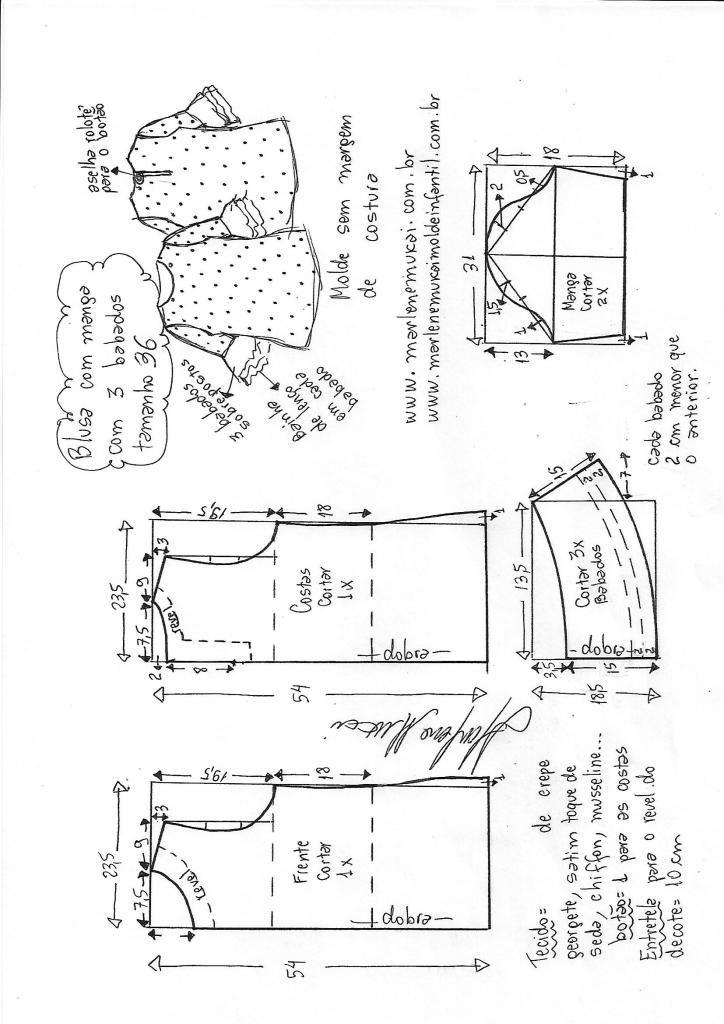 Blusa com manga 3 babados – DIY – molde, corte e costura – Marlene ...