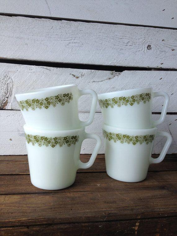 Vintage Pyrex Cinderella Spring Blossom Crazy Daisy Milk Gl Mugs Green Tea Cups Coffee