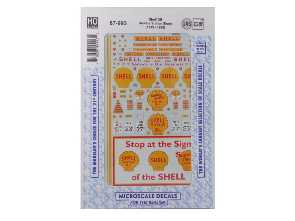 Ho shell oil service station signs model train decals microscale 87 993 y microscale