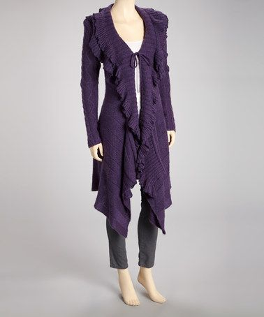 Look what I found on #zulily! Purple Ruffle Wool-Blend Open Duster #zulilyfinds
