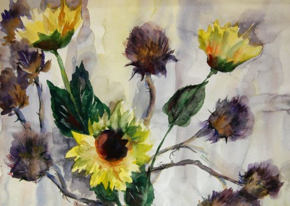 Original Watercolor Painting Sunflowers by CanotStop on Etsy