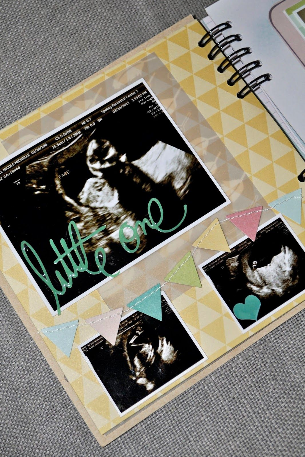 Pregnancy Scrapbook Mini Album Kraft Gold Teal Blue Aqua Green Pink