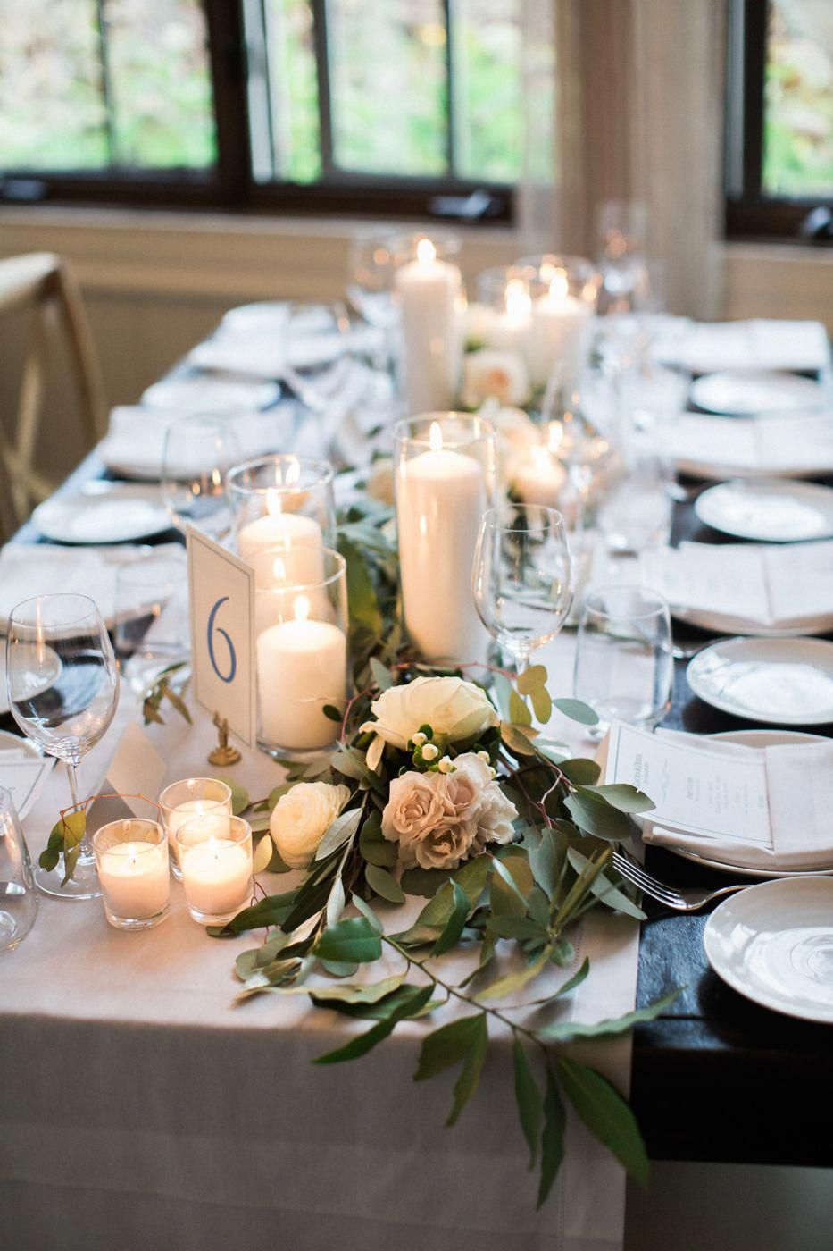Charming Candlelit Wedding Table Decor Blue New Bedford Inn Fall