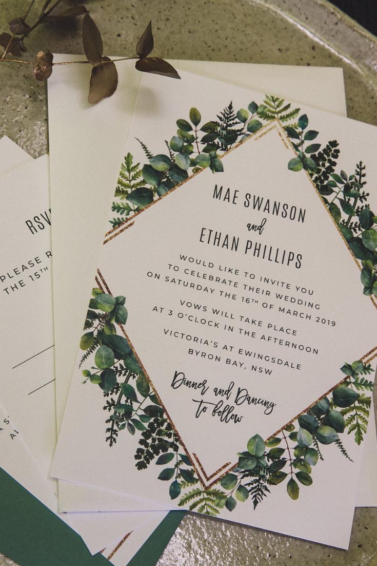 Custom Geometric Greenery Wedding Invitations Ficus And Fig Design Is An A Custom Wedding Invitations Wedding Invitations Australia Forest Wedding Invitations