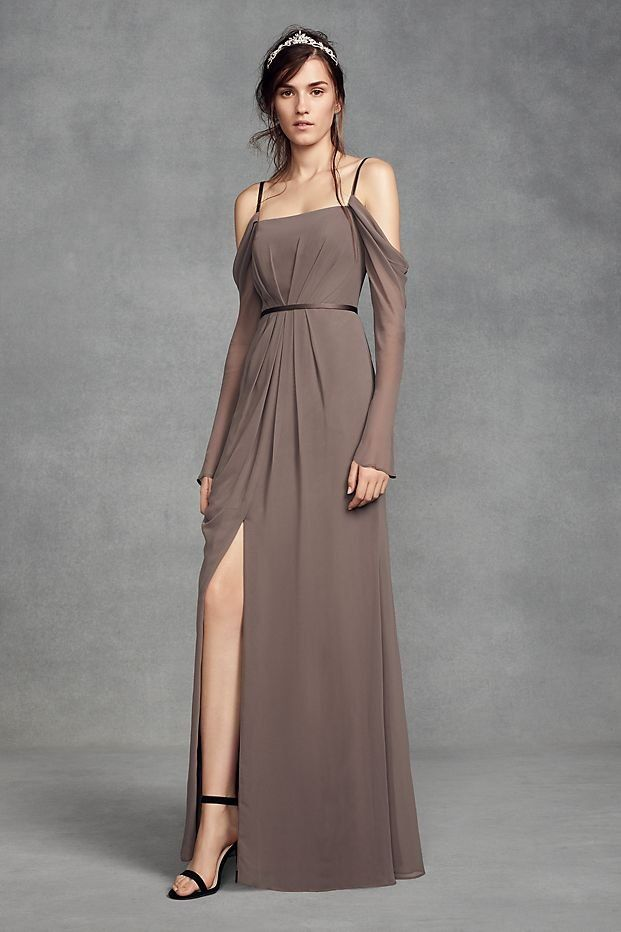 Long Sleeve Cold Shoulder Chiffon Bridesmaid Dress By White Vera Collection From David S Bridal