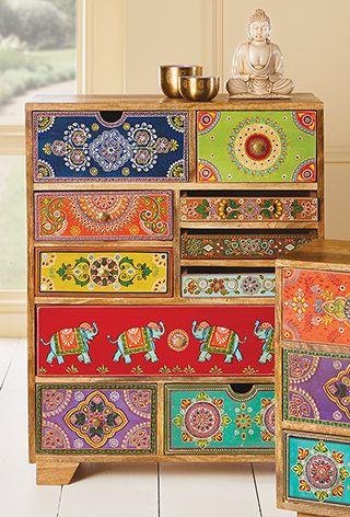 10 Drawer Hand Painted Cabinet > Sankalaka Hand Painted ...