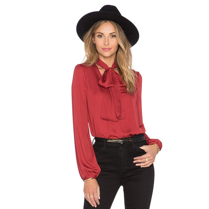 a7e3ea35dfcf2 Slim Fit Long Sleeve V-Neck Pussybow Chiffon Blouse Shirt Red ...