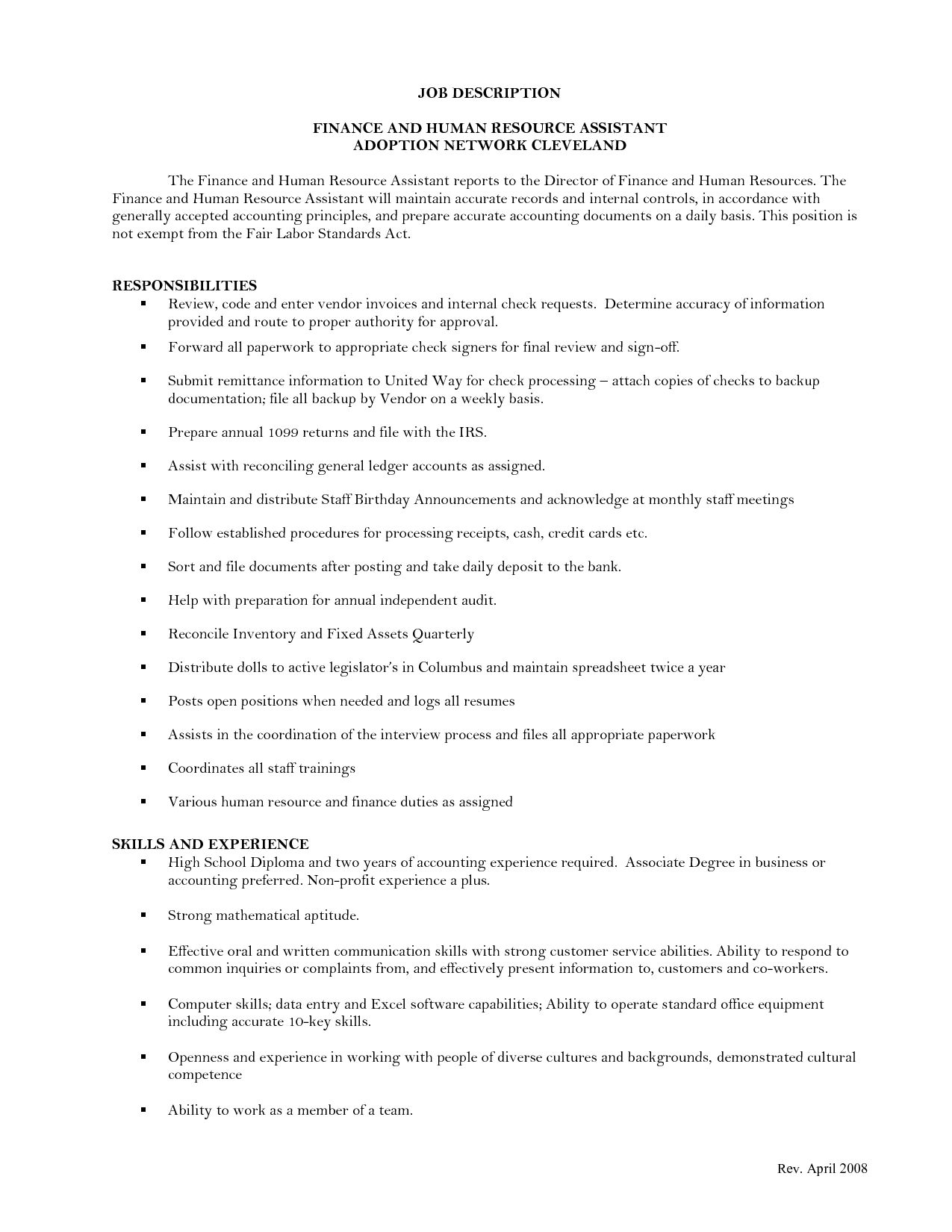 Here some writing tips and examples of human resources