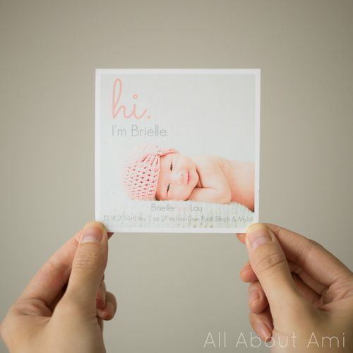 Super cute birth announcements made from Stephanie on her blog All – How to Make a Birth Announcement