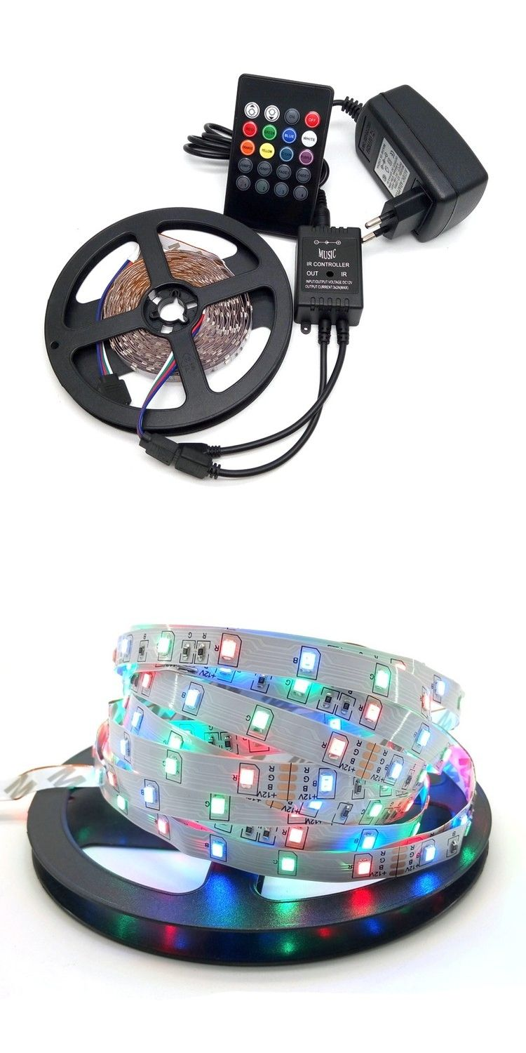 Led Strip Light 3528 Rgb 5m 300 Flexible Set Controller For Strips With Rf 20 Keys Remote Control 20keys Music Ir