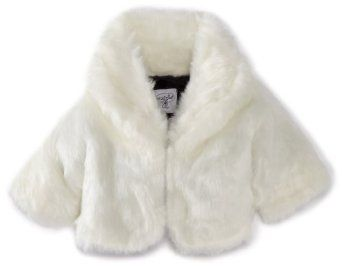 Mud Pie Baby-girls Infant Cropped White Fur Jacket, Multi-colored ...