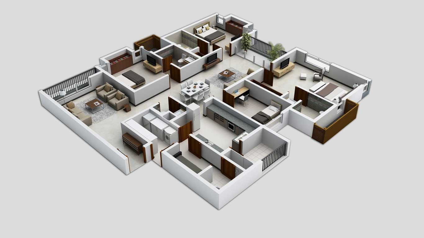 50 Four 4 Bedroom Apartment House Plans 4 Bedroom Apartments