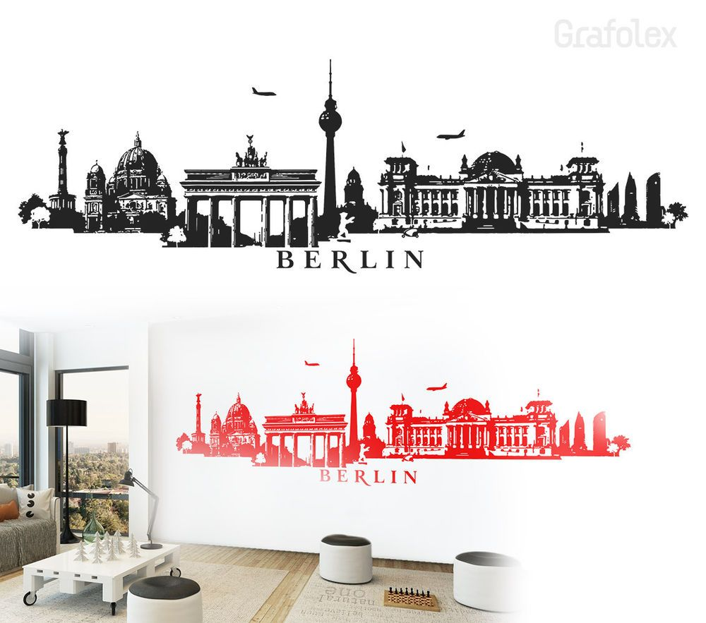 Berlin Skyline Wandtattoo Wandaufkleber Wandsticker Wand Aufkleber Sticker  W115a