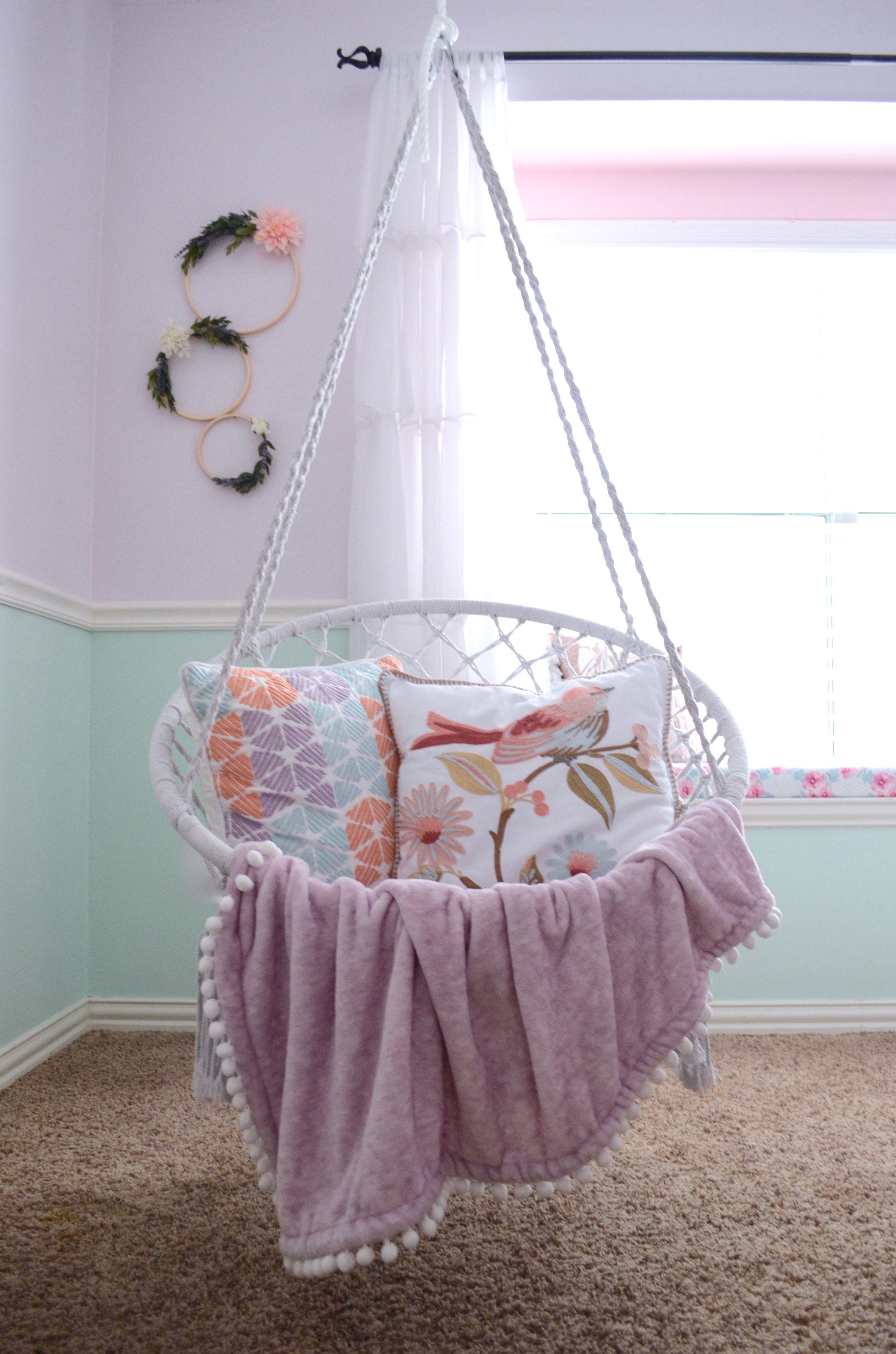 Girls room kid room girl nursery kid space chair swing hanging