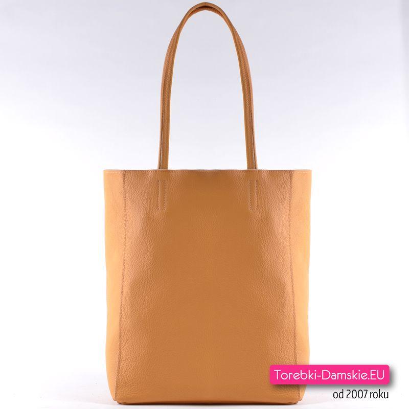 99921a93066df Polska torebka damska ze skóry naturalnej w modnym fasonie - shopper na  ramię, mieści A4, piękny odcień koloru