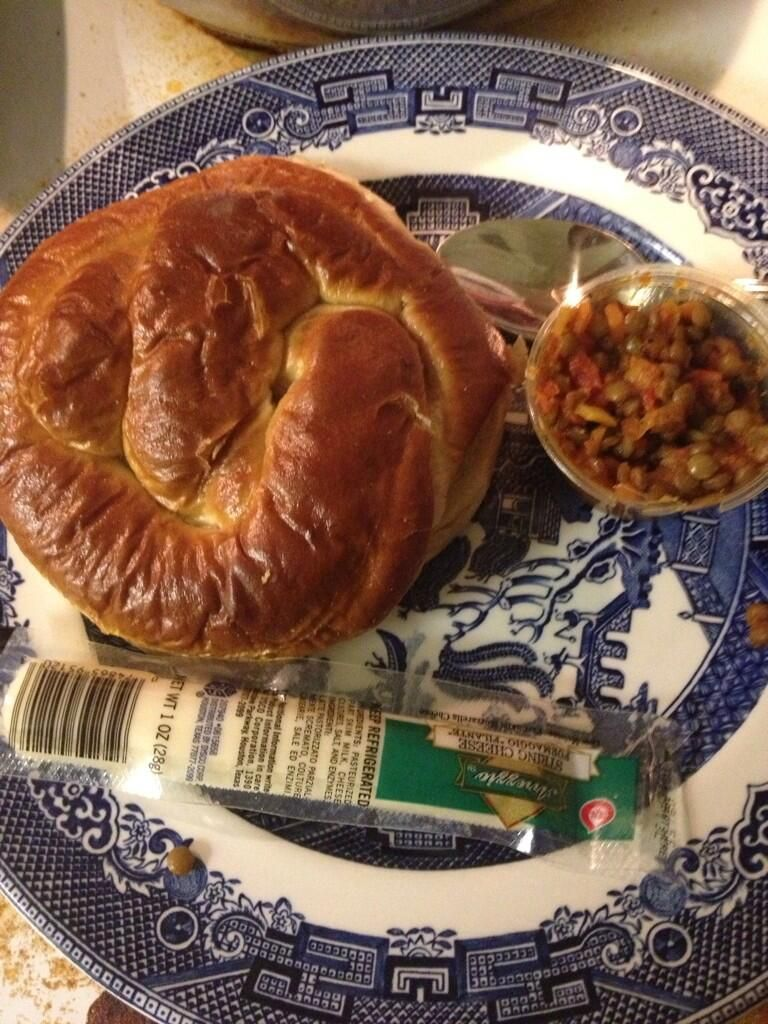 Eating my Diet-to-Go lunch! ... Turkey Ham Salad on a Pretzel Roll, Lentil chili and string cheese!
